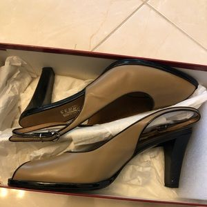 Authentic Ferragamo Leather Slingback Heels